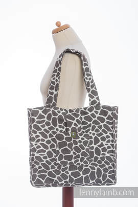 Shoulder bag made of wrap fabric (100% cotton) - GIRAFFE DARK BROWN & CREME - standard size 37cmx37cm