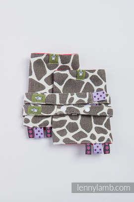 Drool Pads & Reach Straps Set, (100% cotton)t - GIRAFFE DARK BROWN & CREME