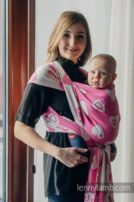 Baby Wrap, Jacquard Weave (100% cotton) - SWEETHEART PINK and CREME 2.0 - size XS