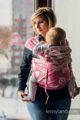 WRAP-TAI carrier Toddler with hood/ jacquard twill / 100% cotton / SWEETHEART PINK & CREME 2.0