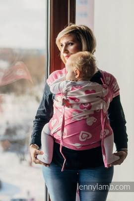 WRAP-TAI carrier Mini with hood/ jacquard twill / 100% cotton / SWEETHEART PINK & CREME 2.0