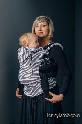 Ergonomic Carrier, Baby Size, jacquard weave 100% cotton - ZEBRA GRAPHITE & WHITE - Second Generation