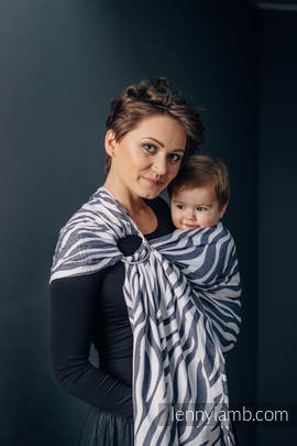 Ringsling, Jacquard Weave (100% cotton) - with gathered shoulder - ZEBRA GRAPHITE & WHITE