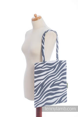 Shopping bag made of wrap fabric (100% cotton) - ZEBRA GRAPHITE & WHITE