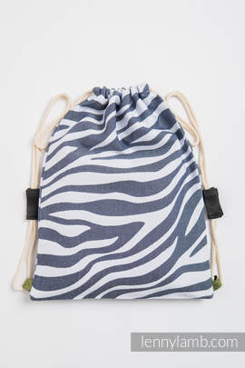 Sackpack made of wrap fabric (100% cotton) - ZEBRA GRAPHITE & WHITE - standard size 35cmx45cm