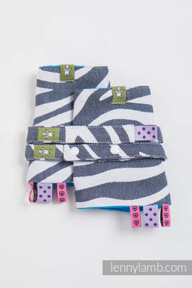 Drool Pads & Reach Straps Set, (100% cotton) - ZEBRA GRAPHITE & WHITE
