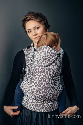 Ergonomic Carrier, Toddler Size, jacquard weave 100% cotton - wrap conversion from CHEETAH DARK BROWN & WHITE - Second Generation