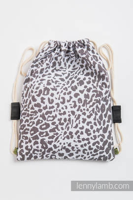 Sackpack made of wrap fabric (100% cotton) - CHEETAH DARK BROWN & WHITE - standard size 35cmx45cm