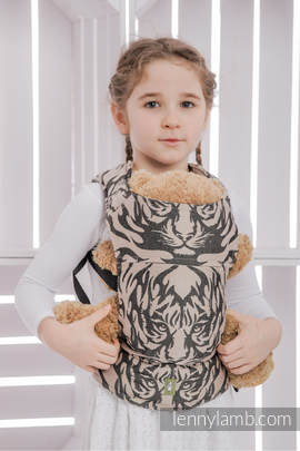 Doll Carrier made of woven fabric, 100% cotton - TIGER BLACK & BEIGE 2.0