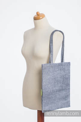 Shopping bag made of wrap fabric (100% cotton) - DENIM BLUE - standard size 33cmx39cm
