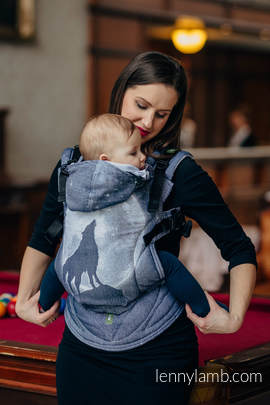 Ergonomic Carrier, Toddler Size, jacquard weave 100% cotton - wrap conversion from MOONLIGHT WOLF - Second Generation