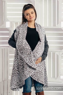 Long Cardigan - size L/XL - Cheetah Dark Brown & White