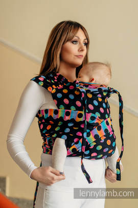WRAP-TAI carrier Mini with hood/ jacquard twill / 100% cotton / POLKA DOTS RAINBOW DARK