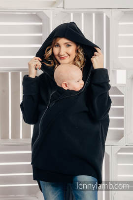 Asymmetrical Fleece Hoodie for Women - size XL - Black