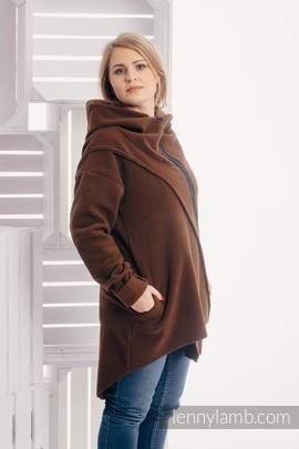 Asymmetrical Fleece Hoodie for Women - size M - Brown