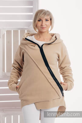 Asymmetrical Fleece Hoodie for Women - size M - Cafe Latte
