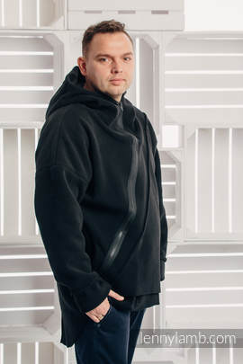 Asymmetrical Fleece Hoodie for Men - size XL - Black