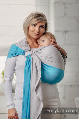 Basic Line Ring Sling - LARIMAR - 100% Cotton - Broken Twill Weave -  with gathered shoulder