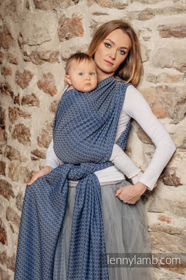 Baby Wrap, Jacquard Weave (60% cotton, 40% bamboo) - LITTLE LOVE - AQUA - size XS