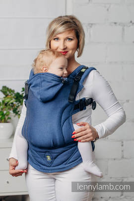 Basic Line Ergonomic Carrier - COBALT, Baby Size, herringbone weave 100% cotton - Second Generation