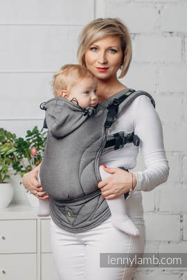 Basic Line Ergonomic Carrier - GRAPHITE, Baby Size, herringbone weave 100% cotton - Second Generation
