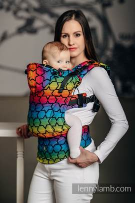 Ergonomic Carrier, Baby Size, jacquard weave 100% cotton - RAINBOW STARS DARK - Second Generation