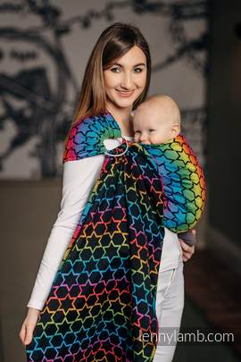 Ringsling, Jacquard Weave (100% cotton) - with gathered shoulder - RAINBOW STARS DARK (grade B)