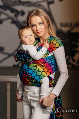 WRAP-TAI carrier Mini with hood/ jacquard twill / 100% cotton / RAINBOW STARS DARK