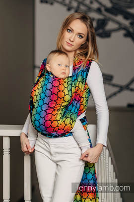 Baby Wrap, Jacquard Weave (100% cotton) - RAINBOW STARS DARK - size S