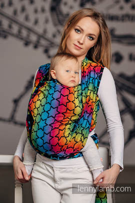 Baby Wrap, Jacquard Weave (100% cotton) - RAINBOW STARS DARK - size L