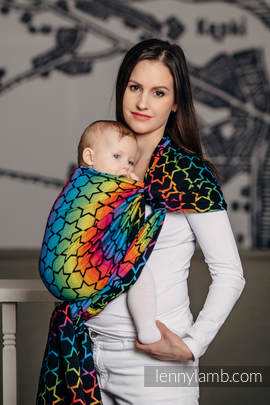 Baby Wrap, Jacquard Weave (100% cotton) - RAINBOW STARS DARK - size XS