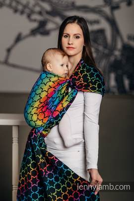 Baby Wrap, Jacquard Weave (100% cotton) - RAINBOW STARS DARK - size XL (grade B)