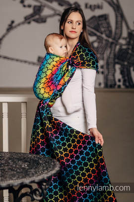 Baby Wrap, Jacquard Weave (100% cotton) - RAINBOW STARS DARK - size M