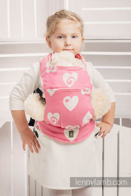 Doll Carrier made of woven fabric, 100% cotton  - SWEETHEARTS PINK & CREME 2.0