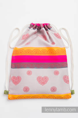 Sackpack made of wrap fabric (100% cotton) - CHERRY LACE 2.0 - standard size 32cmx43cm