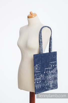 Shopping bag made of wrap fabric (100% cotton) - SYMPHONY NAVY BLUE & GREY