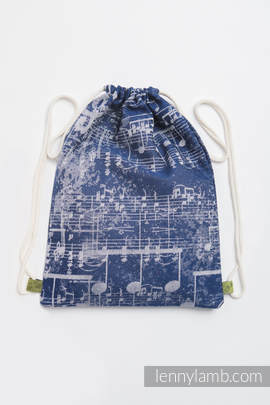 Sackpack made of wrap fabric (100% cotton) - SYMPHONY NAVY BLUE & GREY - standard size 35cmx45cm