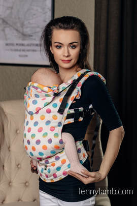 Ergonomic Carrier, Baby Size, jacquard weave 100% cotton - POLKA DOTS RAINBOW - Second Generation