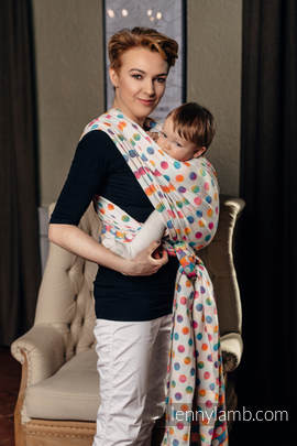 Baby Wrap, Jacquard Weave (100% cotton) - POLKA DOTS RAINBOW - size L