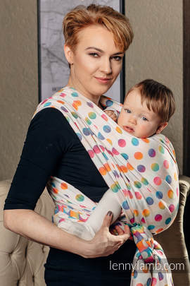 Baby Wrap, Jacquard Weave (100% cotton) - POLKA DOTS RAINBOW - size S (grade B)