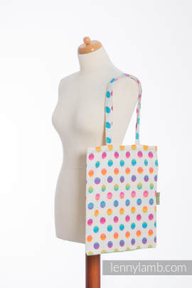 Shopping bag made of wrap fabric (100% cotton) - POLKA DOTS RAINBOW