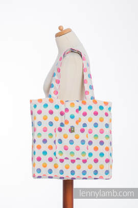Shoulder bag made of wrap fabric (100% cotton) - POLKA DOTS RAINBOW - standard size 37cmx37cm
