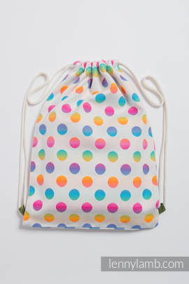 Sackpack made of wrap fabric (100% cotton) - POLKA DOTS RAINBOW - standard size 32cmx43cm