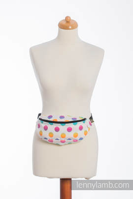 Waist Bag made of woven fabric, (100% cotton) - POLKA DOTS RAINBOW