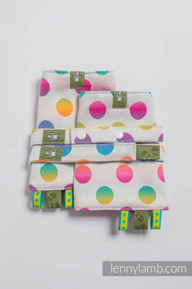 Drool Pads & Reach Straps Set, (100% cotton) - POLKA DOTS RAINBOW