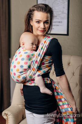 Baby Wrap, Jacquard Weave (100% cotton) - POLKA DOTS RAINBOW - size XL