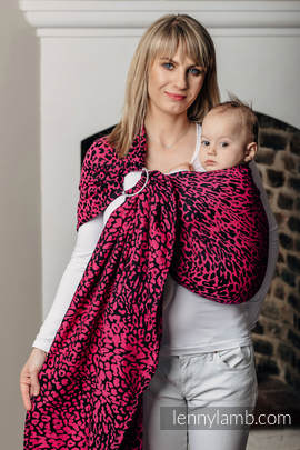 Ringsling, Jacquard Weave (100% cotton) - with gathered shoulder - CHEETAH BLACK & PINK