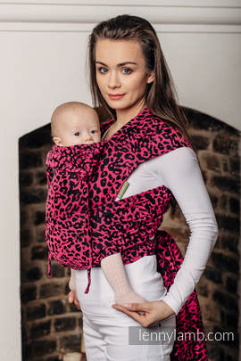 WRAP-TAI carrier Mini with hood/ jacquard twill / 100% cotton / CHEETAH BLACK & PINK