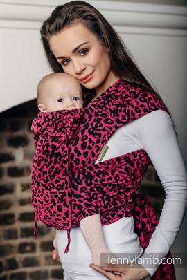 WRAP-TAI carrier Toddler with hood/ jacquard twill / 100% cotton / CHEETAH BLACK & PINK (grade B)