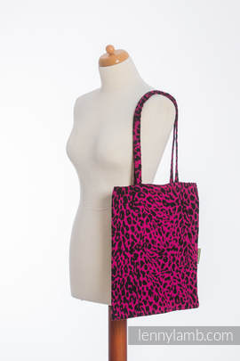 Shopping bag made of wrap fabric (100% cotton) - CHEETAH BLACK & PINK  - standard size 33cmx39cm